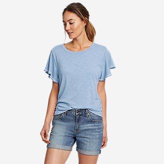 Women's Gate Check Flutter-Sleeve T-Shirt in Blue
