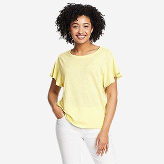 Women's Gate Check Flutter-Sleeve T-Shirt in Yellow