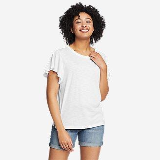 Women's Gate Check Flutter-Sleeve T-Shirt in White