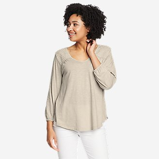 Women's Gate Check 3/4-Sleeve V-Neck Top in Beige