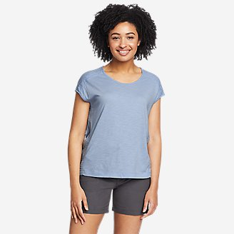 Women's Gate Check Embroidered Short-Sleeve T-Shirt in Blue
