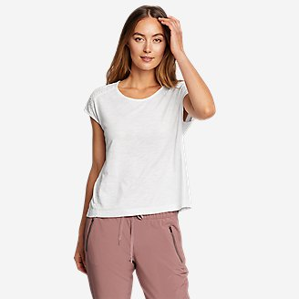 Women's Gate Check Embroidered Short-Sleeve T-Shirt in White