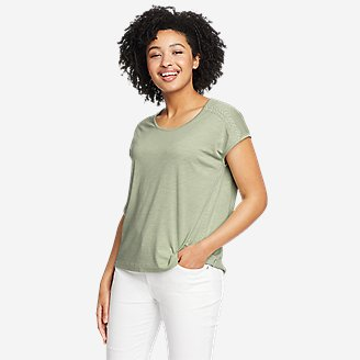 Women's Gate Check Embroidered Short-Sleeve T-Shirt in Green
