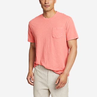 Men's Earth Wash Slub Short-Sleeve Pocket T-Shirt in Orange