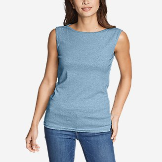 Women's Favorite Sleeveless Bateau Top in Blue