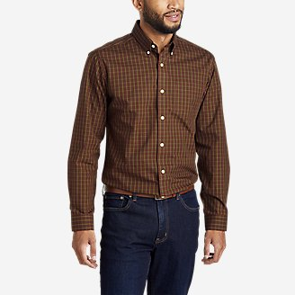 Men's Wrinkle-Free Pinpoint Oxford Relaxed Fit Long-Sleeve Shirt - Seasonal Pattern in Brown