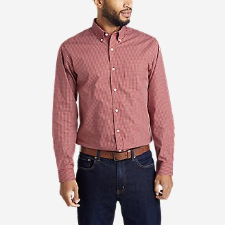 Men's Wrinkle-Free Pinpoint Oxford Relaxed Fit Long-Sleeve Shirt - Seasonal Pattern in Red