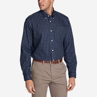 Men's Wrinkle-Free Pinpoint Oxford Relaxed Fit Long-Sleeve Shirt - Seasonal Pattern in Blue