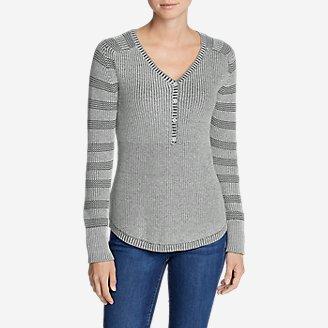 Women's Sweatshirt Sweater Henley - Stripe in Gray