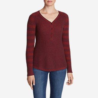 Women's Sweatshirt Sweater Henley - Stripe in Red