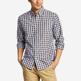 Men's On The Go Long-Sleeve Poplin Shirt in Brown