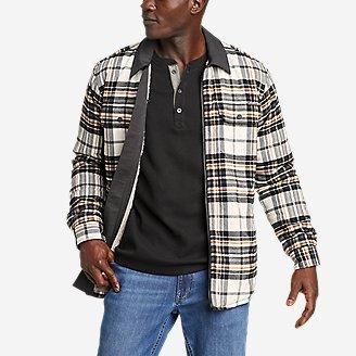 Men's Eddie's Favorite Flannel Faux Shearling-Lined Shirt Jacket in White