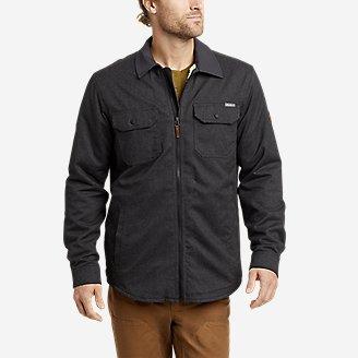 Men's Eddie's Favorite Flannel Faux Shearling-Lined Shirt Jacket in Gray