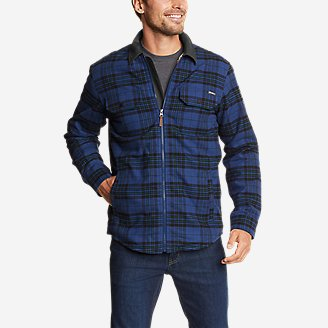 Men's Eddie's Favorite Flannel Sherpa-Lined Shirt Jacket in Blue