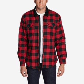 Men's Eddie's Favorite Flannel Sherpa-Lined Shirt Jacket in Red