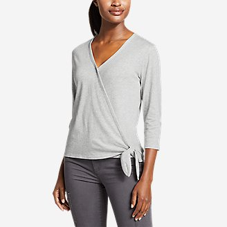 Women's Gate Check 3/4-Sleeve Wrap-Front Top in Gray