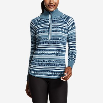 Women's Engage 1/4-Zip Fair Isle Sweater in Blue