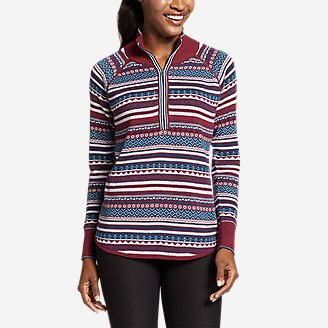 Women's Engage 1/4-Zip Fair Isle Sweater in Red