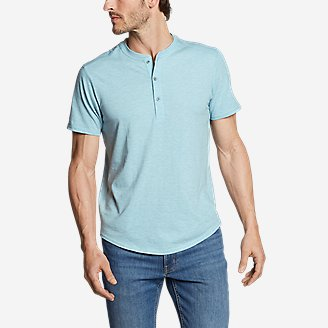 Men's Slub Jersey Henley in Blue