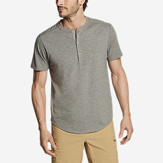 Men's Slub Jersey Henley in Gray