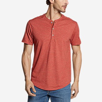 Men's Slub Jersey Henley in Orange