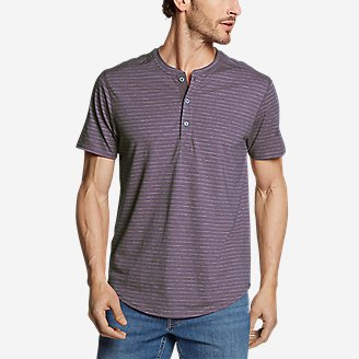 Men's Slub Jersey Henley in Purple