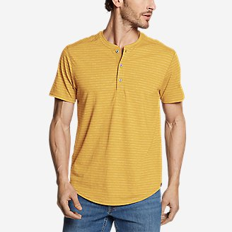 Men's Slub Jersey Henley in Yellow