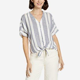 Women's Beach Light Linen Tie-Front Top in White