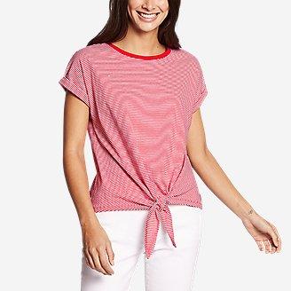 Women's Myriad Tie-Front Short-Sleeve T-Shirt - Stripe in Red