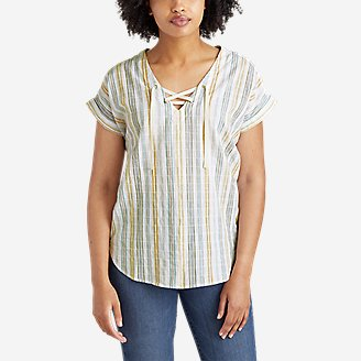 Women's Packable Lace-Up Top in White