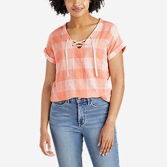 Women's Packable Lace-Up Top in Orange
