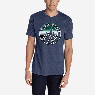 Men's Graphic T-Shirt - Gradient Peaks in Blue