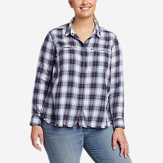 Women's Fremont Flannel Frayed Hem Shirt in Blue