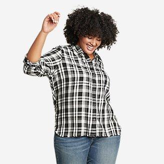 Women's Fremont Flannel Frayed Hem Shirt in Gray