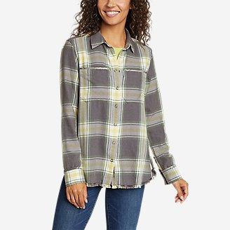 Women's Fremont Flannel Frayed Hem Shirt in Green