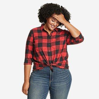 Women's Fremont Flannel Frayed Hem Shirt in Red