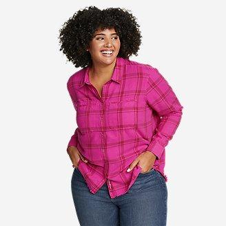 Women's Fremont Flannel Frayed Hem Shirt in Pink