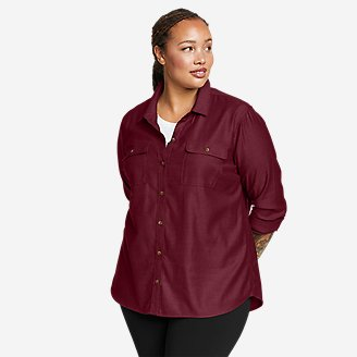 Women's Firelight Flannel Shirt - Solid in Red