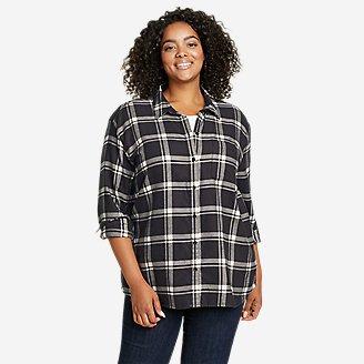 Women's Firelight Flannel Shirt - Boyfriend in Black