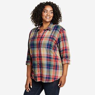 Women's Firelight Flannel Shirt - Boyfriend in Blue