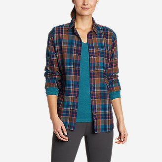 Women's Firelight Flannel Shirt - Boyfriend in Brown