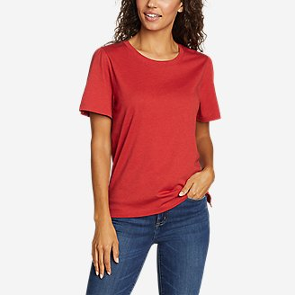 Women's Gate Check Ruched-Sleeve T-Shirt in Red