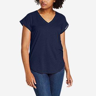 Women's Gate Check Ladder-Stitch V-Neck T-Shirt in Blue