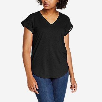 Women's Gate Check Ladder-Stitch V-Neck T-Shirt in Black