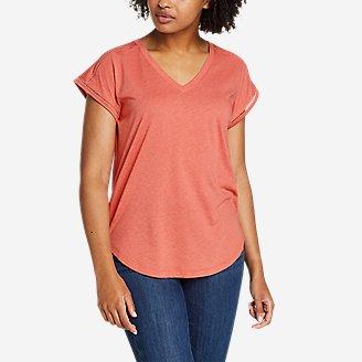 Women's Gate Check Ladder-Stitch V-Neck T-Shirt in Red