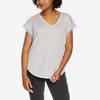 Women's Gate Check Ladder-Stitch V-Neck T-Shirt in Gray