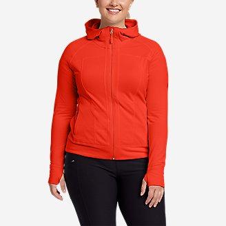 Women's High Route Grid Fleece Full-Zip Jacket in Red