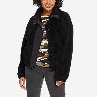 Women's Quest Plush Snap-Front Jacket in Black