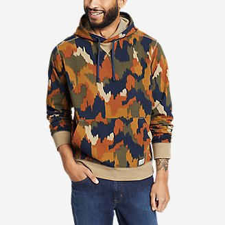 Men's Camp Fleece Pullover Hoodie - Pattern in Orange