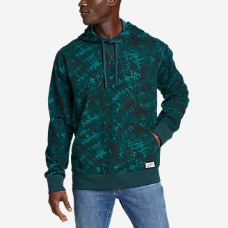 Men's Camp Fleece Pullover Hoodie - Pattern in Blue